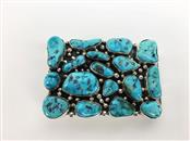 .925 STERLING SILVER TURQUOISE BELT BUCKLE 50G